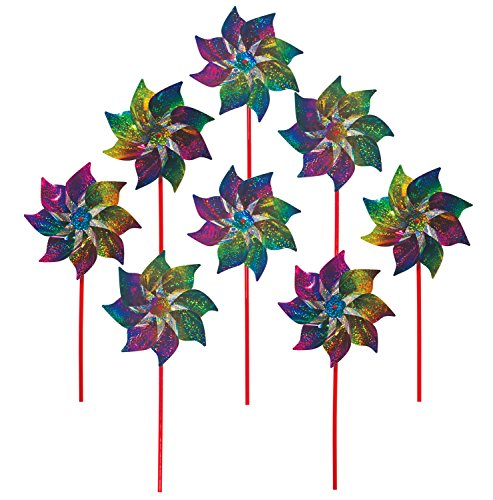 In the Breeze Best Selling Rainbow Whirl Pinwheel - Bright Blended Rainbow Design - Mylar Material - 8 Piece Bags Best-Selling