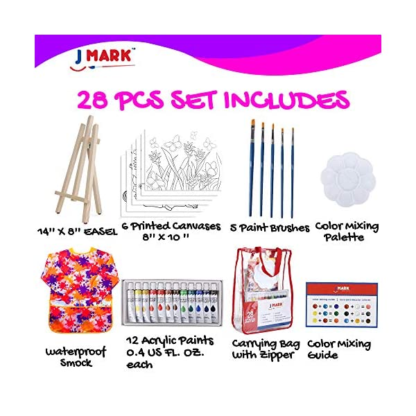 Kids-Art-Set-for-Girls–28-Piece-Acrylic-Painting-Supplies-Kit-with-Storage-Bag-12-Washable-Paints-1-Scratch-Free-Paint-Easel-6-Pre-Stenciled-Canvases-8-x-10-inches-5-Brushes-10-Well-Palette