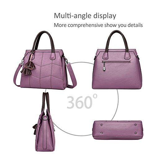 amp;DORIS Atmosphere Trendy Simple Female Bag Bag New Leather Handbags Handbag Fashion Woman Shoulder B for NICOLE Female Handbags Citron Blue Purple df5Oqwxd