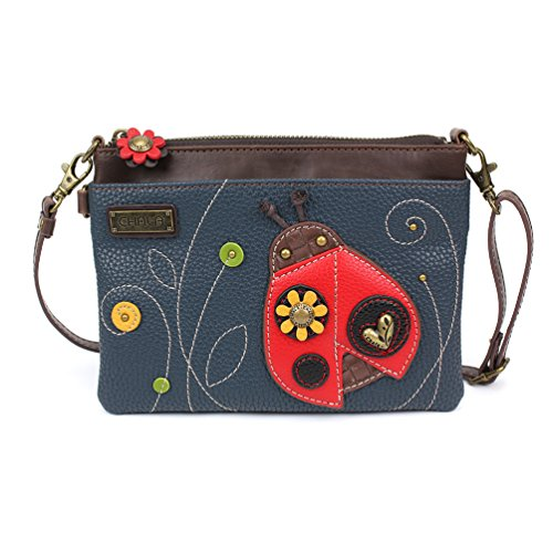 - Chala Small Crossbody Phone Purse with 2 Adjustable Strap (Navy Ladybug )