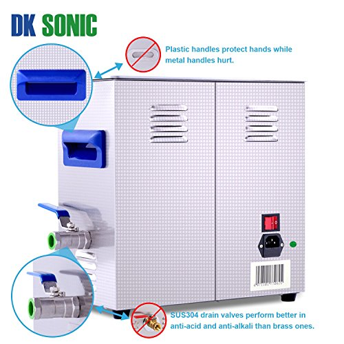 Large Ultrasonic Gun Cleaner Heated - DK SONIC 6L 180W Ultrasonic Parts Cleaner with Heater Basket for Retainer Jewelry Carburetor Eyeglass Ring Fuel Injector Glasses Record Circuit Board 40KHz by DK SONIC (Image #3)