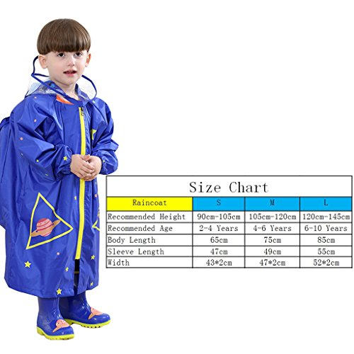 WYTbaby Kids Raincoats, Boys Girls Hooded Rain Poncho with School Bag Position,Blue by WYTbaby (Image #7)