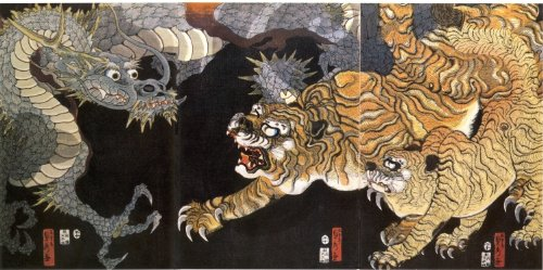 1858 Dragon and Tigers - Large Japanese Art - Large Poster Dragon