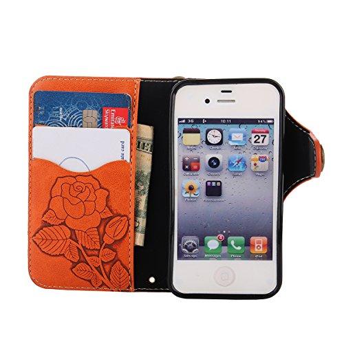 MEIRISHUN Leather Wallet Case Cover Carcasa Funda con Ranura de Tarjeta Cierre Magnético y función de soporte para Apple iPhone 4/ 4S - Verde claro naranja