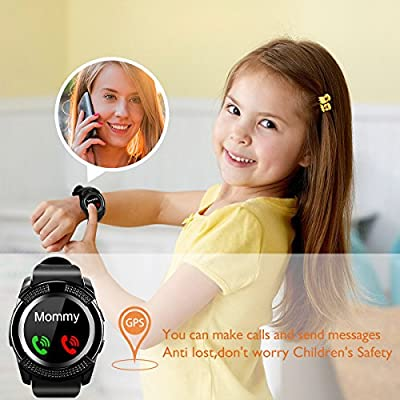 Bluetooth Smart Watch With Camera Waterproof Smartwatch Touch Screen Phone Unlocked Cell Phone Watch Smart Wrist Watch Smart Watches For Android Phones Samsung IOS i (black40)