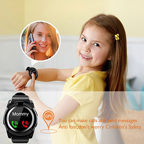 Bluetooth Smart Watch With Camera Waterproof Smartwatch Touch Screen Phone Unlocked Cell Phone Watch Smart Wrist Watch Smart Watches For Android Phones Samsung IOS i (black40) (Red14) by IFUNDA (Image #1)
