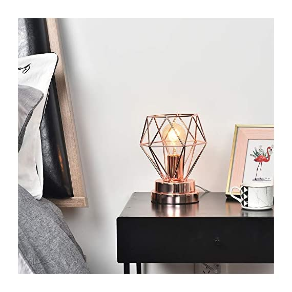 COTULIN Table Lamp,Modern Desk Lamp with Hollow Out Shade for Living Room Bedroom,Rose Gold - Input:AC 110V-120V,max 60W,fits E26 bulb(not included). Cute Size:Height 8.27 inch,diameter 6.70 inch,please note the size. Quality Assurance:Our product focused on modern style and concentrate more on quality,have got the UL certification of US. - lamps, bedroom-decor, bedroom - 51kVfv0lzYL. SS570  -