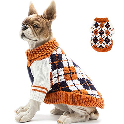 BABAHU Knitted High Collar Diamond Plaid Cat Dog Sweater, Cat Dog Accessories, Cat Dog Apparel, Pet Sweatshirt