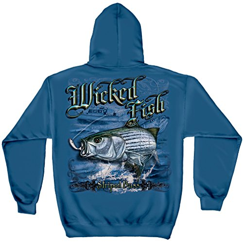 Striped Bass Fishing Hooded Sweatshirt, 50/50 Cotton Poly Blend, Show Your Love of Fishing with our Wicked Fish Striper Bass Long Sleeve Sweatshirts for Men or Women (XX-Large) (Bass Pro Shops Marine)