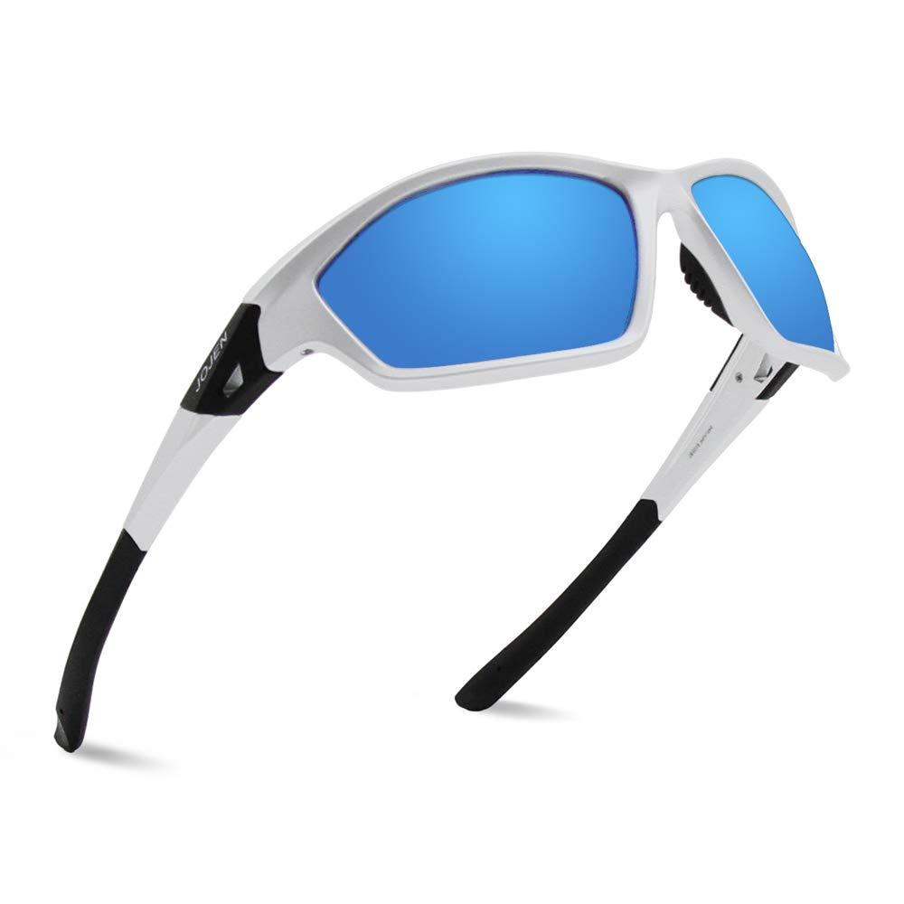 JOJEN Camouflage Polarized Sports Sunglasses for Men Women Running Cycling Fishing Hunting Golfing Tr90 Ultralight Frame TAC HD Lens JE008(Sliver Frame Blue Lens)