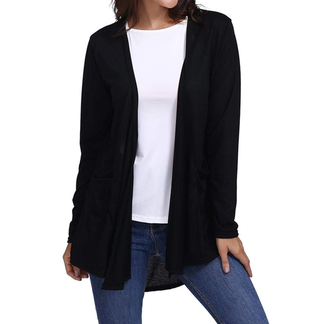 Realdo Womens Cardigan Clearance Sale Loose Casual Long Sleeved Open Front Breathable with Pocket Smock