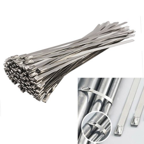 Vktech 100pcs Stainless Steel Exhaust Wrap Coated Locking Cable Zip Ties (11.8 - 1 Olivia Light