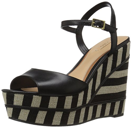 ALDO Women's Unidda Wedge Sandal, Black Leather, 6 B US