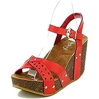 df4a274a8 WestCoast Mara-20 Womens Slingback Ankle Strap Comfort Criss Cross Platform  Open Toe Wedge Sandals