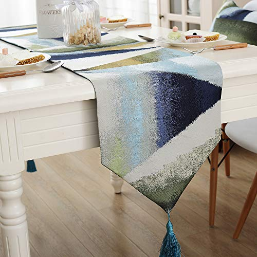 - Zupro Multi-Size Elegant Tassels American Country Classic Table Runners,for Dining Table,Tea Coffee Table Dresser Shoe Box 13x72 Inches(32 x180cm),Oil Painting Geometry - Blue