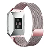 Fitbit Ionic Bands, hooroor Fully Magnetic Closure Clasp Mesh Loop Milanese Stainless Steel Ionic Band for Fitbit Ionic Smartwatch (Rose Pink Small)