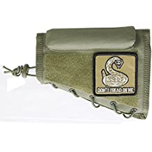 M1SURPLUS Tactical Green Color Cheek Rest With Stock Riser + Don't Tread On Me Snake Morale Patch Fits Remington 597 700 770 798 Model SEVEN 7 HOWA 1500 Weatherby Vanguard Mark V Rifles