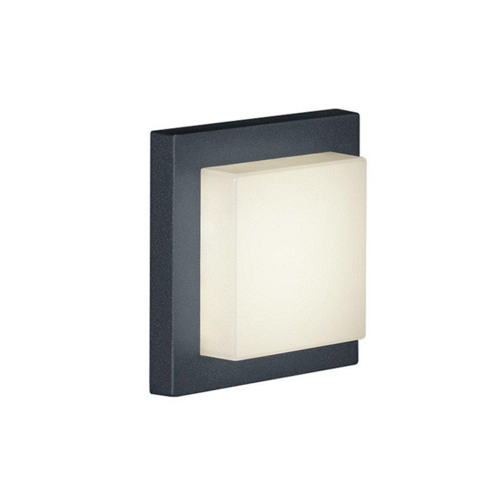Trio Leuchten LED-Aussen-Wandleuchte Hondo in Aluminiumguss anthrazit, PVC-Schirm weiß 228960142 [Energieklasse A+] 228960142_Antracite
