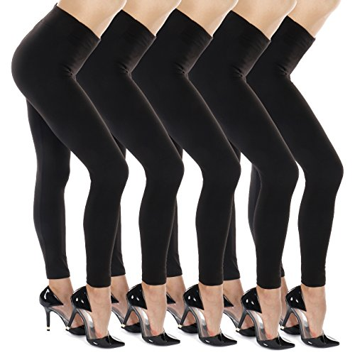 Silky Soft Non See Thru High Waist Premium Yoga Leggings (Plus Size(12-22), 5pk-Black)