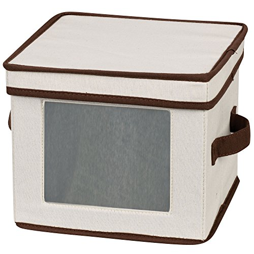 Household Essentials 532 Dinnerware Storage Box with Lid and Handles | Storage Bin for Dessert Plates or Bowls | Natural Canvas with Brown Trim