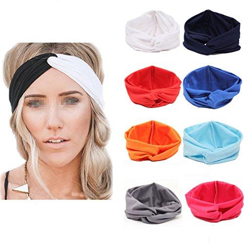 Flyusa Women Girls Turban Twist Headband Head Wrap Twisted Knotted Knot Soft Hair Band,Black