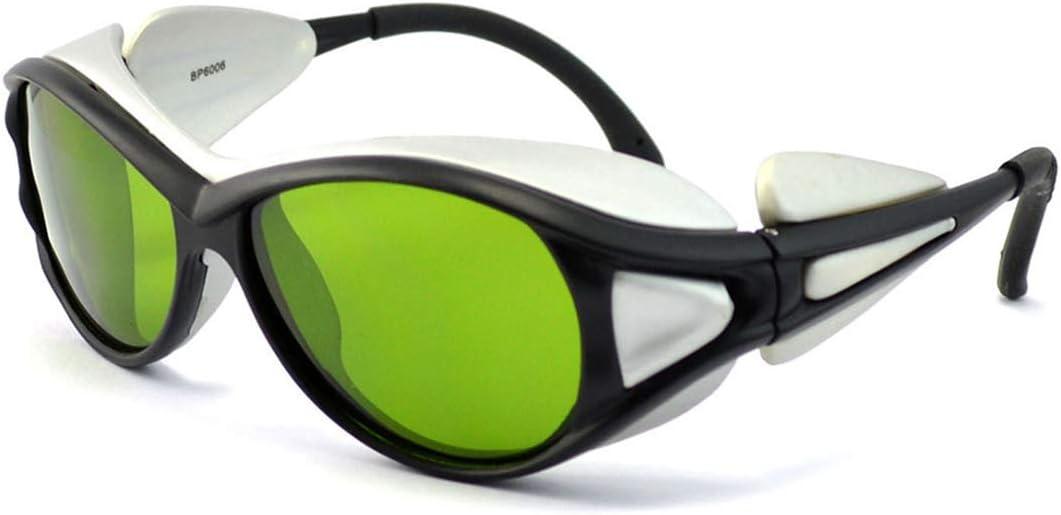 SMAA Gafas Protectoras de Seguridad Profesional de Longitud de Onda de 1064 NM, transmisión de luz del 85%, OD 6+, para Personal médico, Industrial Que Opera fluoroscopia de Rayos X, Verde