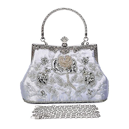 Purse Style Sequin Embroidered Silver Wedding Evening Party Women's Roses Bags Beaded Clutch Asien Vintage Yw7EqTT