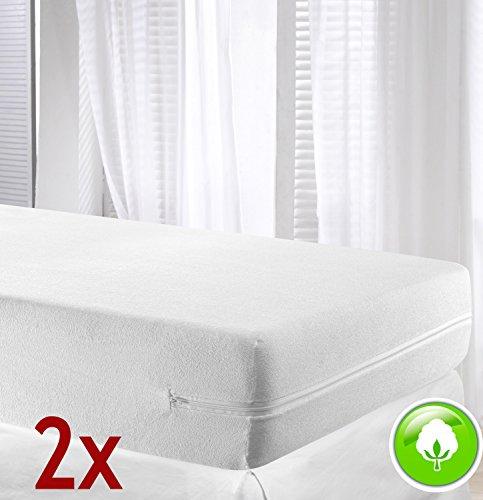 VELFONT - Set mit 2 (Pack) Frottee-Matratzenbezug aus 100% elastischer Baumwolle - Weisse - verfügbar in verschiedenen Größen - 90x190/200cm