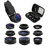 9 in 1 Phone Lens Kit, 2X Zoom Telephoto Lens + 198° Fisheye lens + 0.36X Super Wide Angle Lens + 20X Macro Lens + 15X Macro Lens + 0.63X Wide Lens + CPL + Kaleidoscope Lens + Starburst Lens