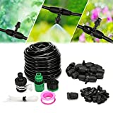 KINGSO 32.8ft Misting System Outdoor Cooling Mist System Drip Irrigation Mister with 10pcs Misting Nozzle Spinklers for Patio Garden Greenhouse 8/11''