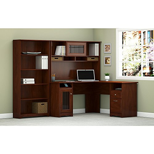 Cabot L Shaped Desk with Hutch and 5 Shelf Bookcase by Bush Furniture