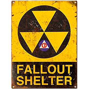 Amazon Com Fallout Shelter Warning Tin Metal Vintage Sign