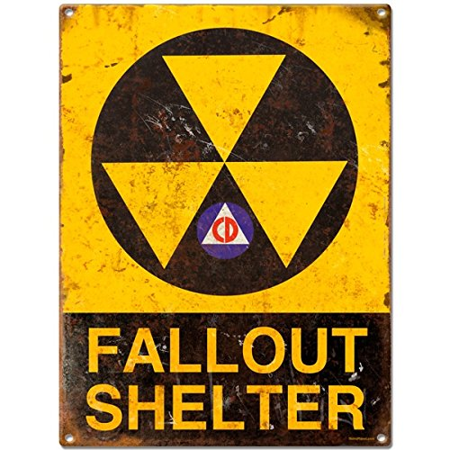 Fallout Shelter Distressed Metal Sign