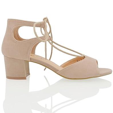 56e79e7e4c9d ESSEX GLAM Womens Block Low Heel Lace Up Strappy Beige Faux Suede Peep Toe  Sandals Shoes