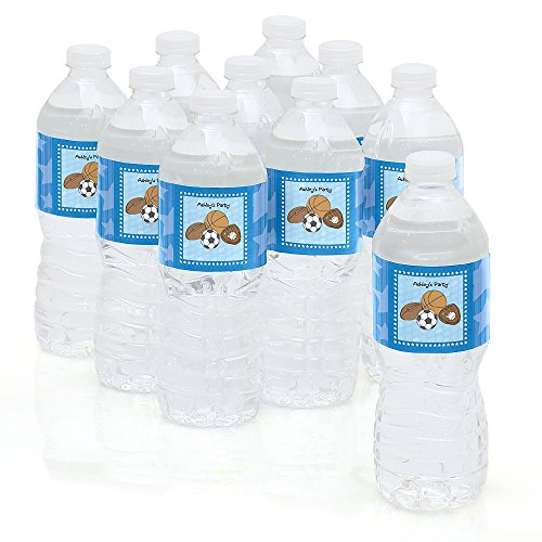 Custom All Star Sports - Personalized Party Water Bottle Sticker Labels - Set of 10 (Personalized Sport Label Water)