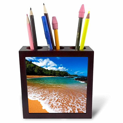 3dRose Danita Delimont - Beaches - Sand and surf at Lumahai Beach, Island of Kauai, Hawaii, USA - 5 inch tile pen holder (ph_278945_1) by 3dRose