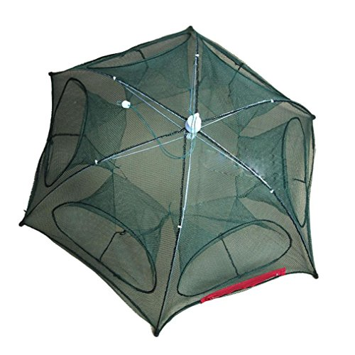 4-16 Holes Automatic Folding Fishing Net,Tuscom Shrimp Cage Bait Storage Nylon Foldable Crab Fish Trap Cast Net Cast Folding Fishing Network (6 Holes 95CM)