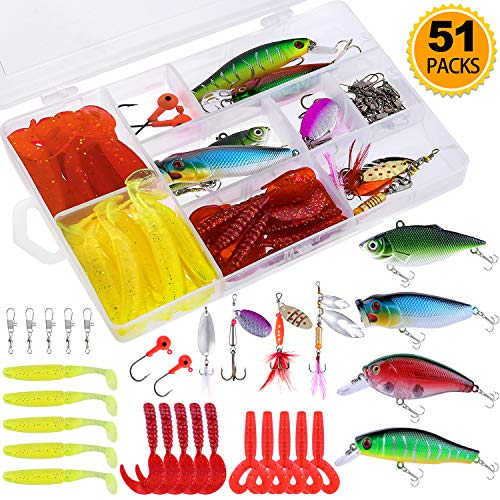 TOPFORT 51Pcs Fishing Lures Kit Set for Bass,Trout, Salmon Including Fishing Spoon,Soft Plastic Worms, CrankBait, VIB Lures, Popper Lures, Minnow Lures, Jig Hooks,Topwater Lures with Tackle Box