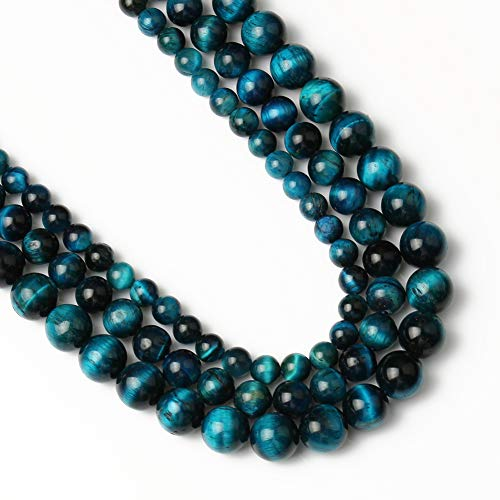 Yochus 6mm Royal Blue Tiger Eye Beads Round Loose Beads Natural Stone Beads for Jewelry Making