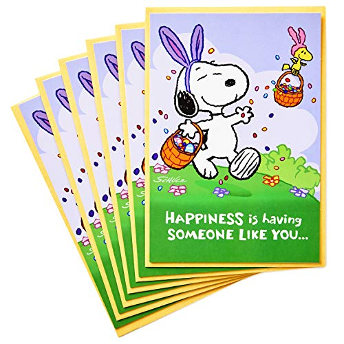(Hallmark Peanuts Pack of Easter Cards, Snoopy Jelly Beans (6 Cards with Envelopes))