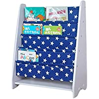 LANKUO Kids Book Rack Storage Bookshelf Toy Sling Book Rack,white/dark blue