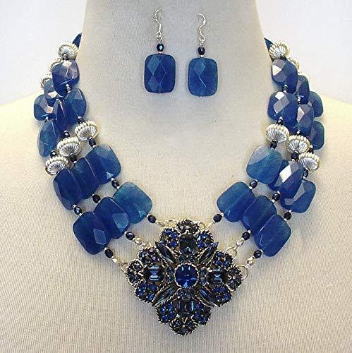 Elegant Royal Blue Candy Jade Cocktail Statement Necklace & Earring Set
