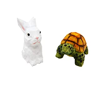 Tortoise Hare Figurines Small 2 Wooden Carving Hand Made Decoration Miniature Animals