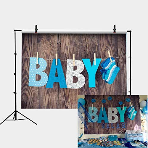 Baby Shower Wood Background Photography Backdrop Vinyl Wooden Wall Photo Studio Props Knitted Socks Theme -