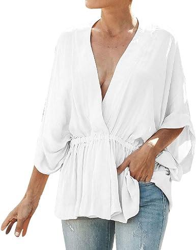Qingsiy Camiseta de Moda Casual para Mujer con Cuello En V Profundo Estampada De Lunares de Blusa para Mujer Camisas De Vestir Popular Blusa Tops con Moda Murciélago Manga: Amazon.es: Ropa y
