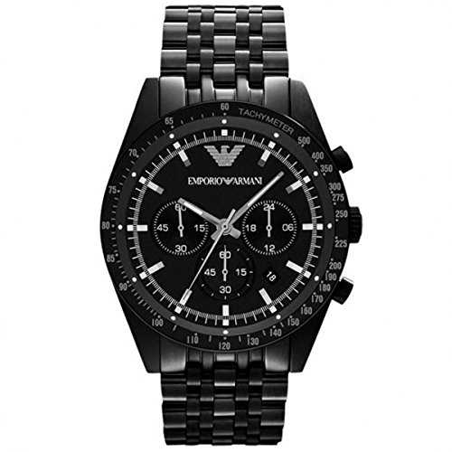 - Emporio Armani AR5989 Men's Sportivo Black IP Stainless Steel Bracelet Black Dial Chronograph Watch