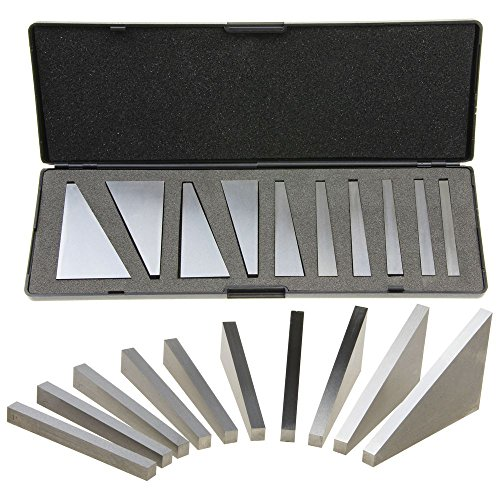 Anytime Tools Angle Block Set 1°, 2°, 3°, 4°, 5°, 10°, 15°, 20°, 25°, 30° Precision +/- 20 Seconds, Machinist Tool, 10 Piece Set (Angle Steel Bar)
