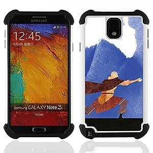 """SAMSUNG Galaxy Note 3 III / N9000 / N9005 - 3 en 1 impreso colorido de Altas Prestaciones PC Funda chaqueta Negro cubierta gel silicona suave (Pintura Airbender"""")"""