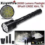 TOPUNDER XLightFire 20000 Lumens 5 Mode 8x CREE XML T6 18650 Super Bright LED Flashlight