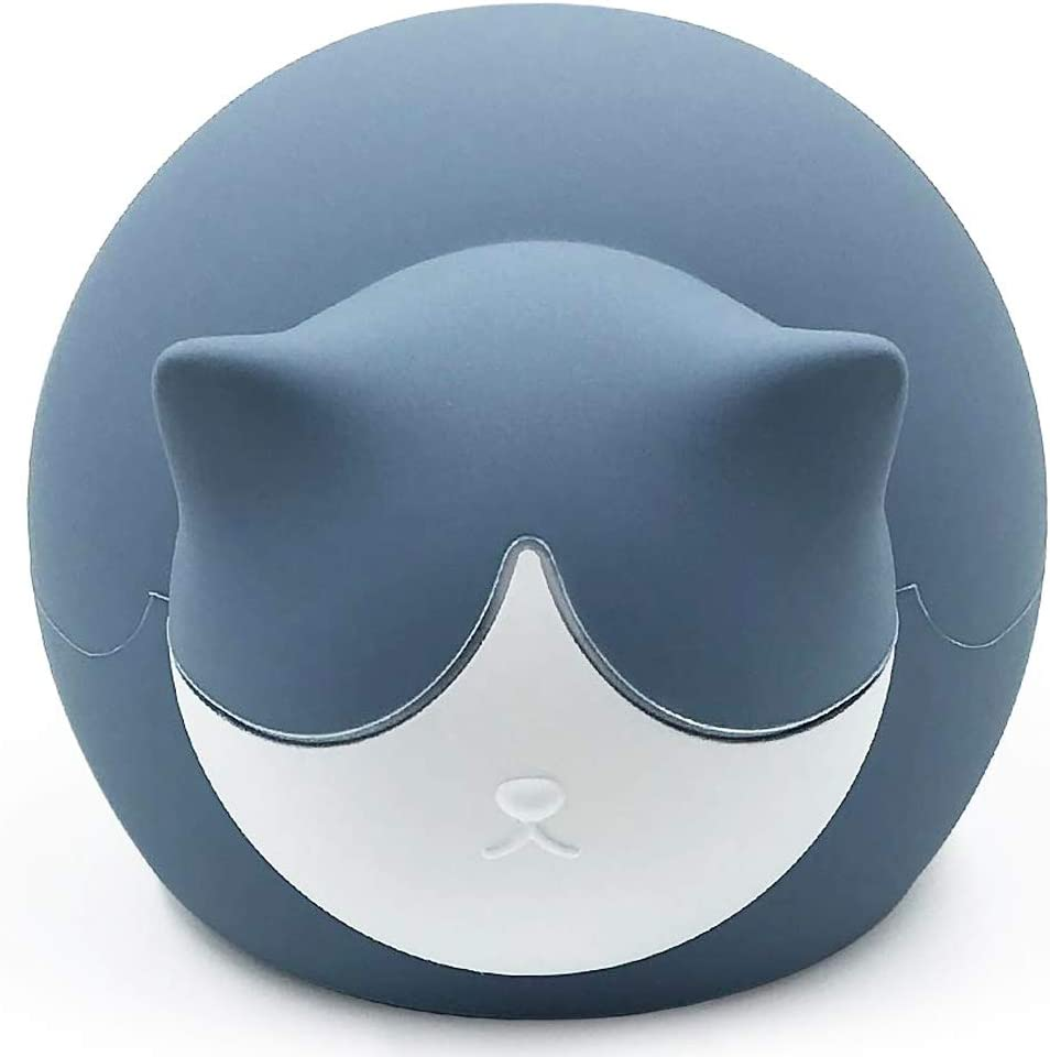 fancyfree Cute Hot Water Bag, BPA Free Soft Silicone Hot & Cold Water Bottle, Microwave and Fridge Available for Heat Therapy or Ice Compress (Blue Cat)